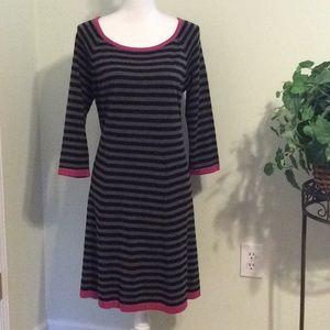 ❤️JessicaHoward blk/gray stripe swing sweater Dres
